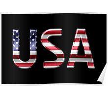 USA - American Flag - Metallic Text Poster