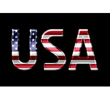 USA - American Flag - Metallic Text Photographic Print