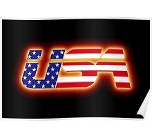 USA - Flag Logo - Glowing Poster