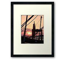 Ships Wheel over Lake Champlain at Sunset Framed Print