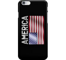 America - American Flag & Text - Metallic iPhone Case/Skin