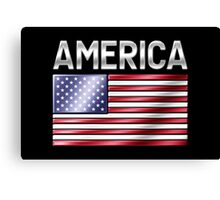 America - American Flag & Text - Metallic Canvas Print