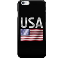 USA - American Flag & Text - Metallic iPhone Case/Skin