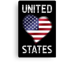 United States - American Flag Heart & Text - Metallic Canvas Print