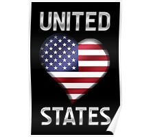 United States - American Flag Heart & Text - Metallic Poster