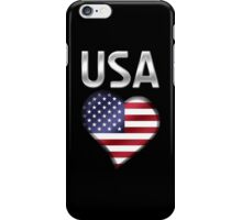 USA - American Flag Heart & Text - Metallic iPhone Case/Skin