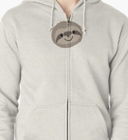 Happy Lazy Sloth Face Zipped Hoodie