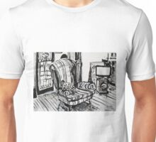 Sitting around the TV in the Loungeroom Drawing Unisex T-Shirt