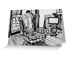 Sitting around the TV in the Loungeroom Drawing Greeting Card