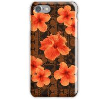 Kalalau Tapa Hawaiian Hibiscus Vintage Aloha Print - Orange & Brown iPhone Case/Skin