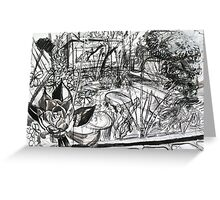 A Sketch of my Back Garden of my Last Rental Property in Footscray Greeting Card
