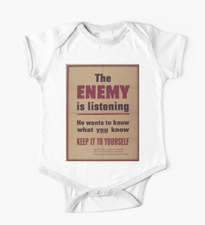 Vintage poster - The Enemy is Listening One Piece - Short Sleeve