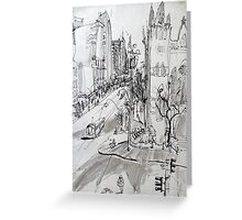 St Pauls Cathedral, Melbourne with Tram (Rapid Sketch) Greeting Card