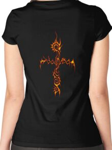 Flame Thorn Cross Women's Fitted Scoop T-Shirt