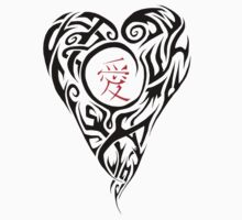 Black Tribal Heart with red love Kanji Kids Clothes