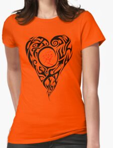 Black Tribal Heart with red love Kanji T-Shirt