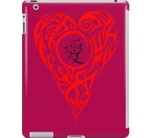 Red Tribal Heart with black love Kanji iPad Case/Skin