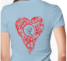 Red Tribal Heart with black love Kanji Womens Fitted T-Shirt