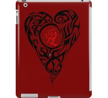 Black Tribal Heart with red love Kanji iPad Case/Skin
