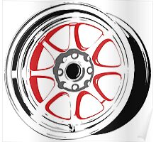 8 spoke red and black rims Poster