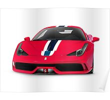 Red Ferrari 458 Speciale sports car art photo print Poster