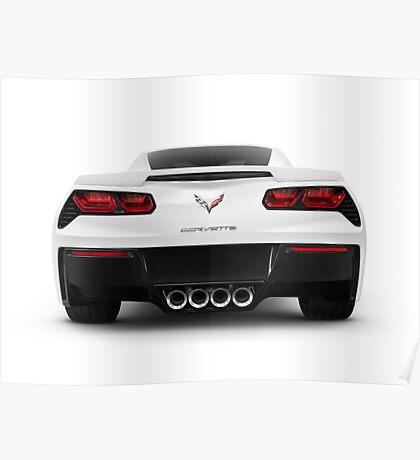 2014 Chevrolet Corvette Stingray sports car rear view art photo print Poster