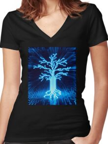 Glowing digital tree circuits conceptual illustration art photo print Women's Fitted V-Neck T-Shirt