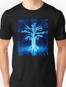 Glowing digital tree circuits conceptual illustration art photo print Unisex T-Shirt