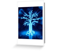 Glowing digital tree circuits concept art photo print Greeting Card
