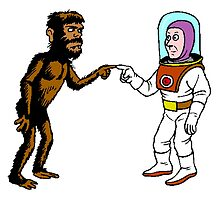 Astronaut Meets Caveman by kwg2200
