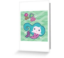 Lil' Blue Mermaid and Jellyfishes Greeting Card