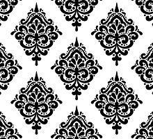 Black And White Damask Ornament by magicmandala
