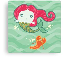 Lil' Red Mermaid and Lobster Canvas Print