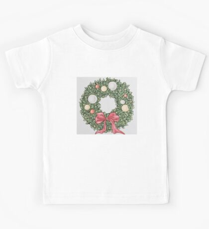 Red Ribbon Wreath (muted) Kids Tee
