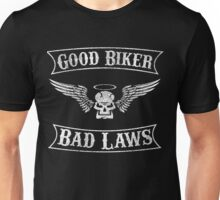 Good Biker Bad Laws Skull and Angel Wings and Halo Shirt Unisex T-Shirt
