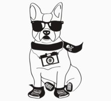 Hipster French Bulldog - Cute Dog Cartoon Character - Frenchie by designedbyn