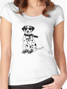 Hipster Dalmatian - Cute Dog Cartoon Character Women's Fitted Scoop T-Shirt