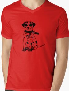 Hipster Dalmatian - Cute Dog Cartoon Character Mens V-Neck T-Shirt