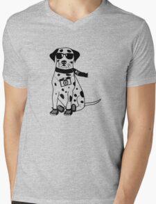 Hipster Dalmatian - Cute Dog Cartoon Character Mens V-Neck T-Shirt