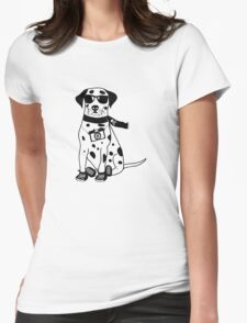 Hipster Dalmatian - Cute Dog Cartoon Character Womens Fitted T-Shirt