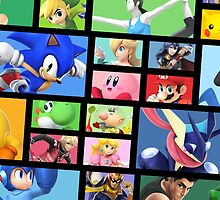 Super Smash Bros. For Nintendo 3DS/ Wii U Poster Brick Pattern by Judas Moreno