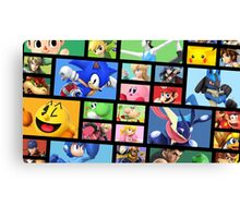 Super Smash Bros. For Nintendo 3DS/ Wii U Poster Brick Pattern Canvas Print