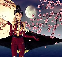Asian Girl with Sakura at Night 2 by AnnArtshock