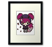 PASTEL GOTH GIRL WITH PENGUIN Framed Print