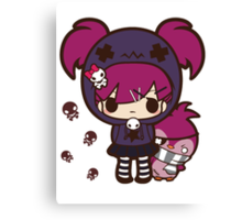 PASTEL GOTH GIRL WITH PENGUIN Canvas Print