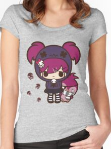 PASTEL GOTH GIRL WITH PENGUIN Women's Fitted Scoop T-Shirt