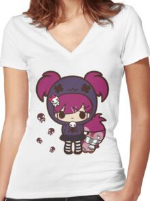 PASTEL GOTH GIRL WITH PENGUIN Women's Fitted V-Neck T-Shirt
