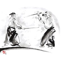 Two samurai fight, japanese warrior painting by Mariusz Szmerdt