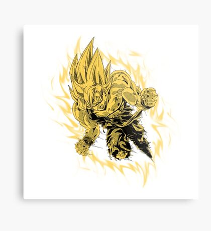Goku (Super Saiyan) [White] Metal Print
