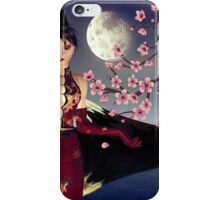 Asian Girl with Sakura at Night 2 iPhone Case/Skin